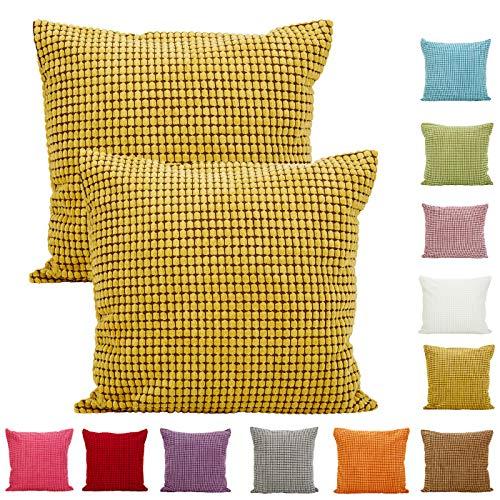 Einfarbig Großer Mais Gestreift Corduroy Dekorativ Kissenbezug Kissenbezug Dekokissen Fall-2Pcs (18 x 18 Zoll 45 x 45 cm, Gelb) -