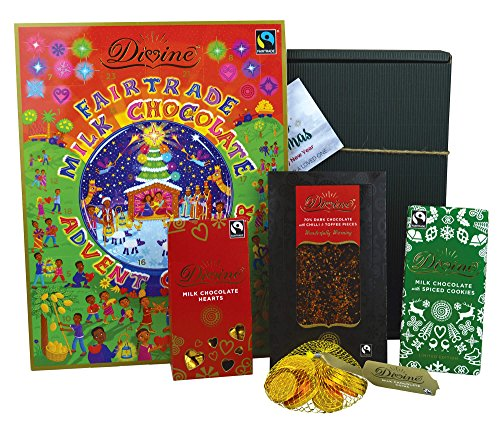 Divine Milk Christmas - Fairtrade Milk Chocolate Hamper - Milk Chocolate Selection: Advent Calendar, Coins, Hearts, Spiced Cookies, Swirled White & Toffee- Includes Christmas Gift Box & Tags!