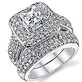 Ultimate Metals Co. Ehering Verlobungsring Set Sterling-Silber 925 1Karat Zirkonia Prinzesschliff