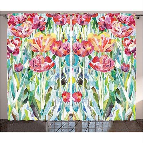 Wkjhdfgb tende di fiori ad acquerello dipinto di fiori primaverili estivi in colori sbiaditi tema floreale stagionale soggiorno arredamento camera da letto,245x280cm