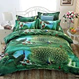 3D Peacock Pfau 4Print Bettbezug Tröster Doppelbett Bettwäsche Set