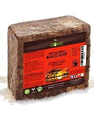 Bio Savon Noir Africain (454g Block)–Raw Bio Savon Idéal pour l'acné, l'eczéma, la peau sèche, le psoriasis,...