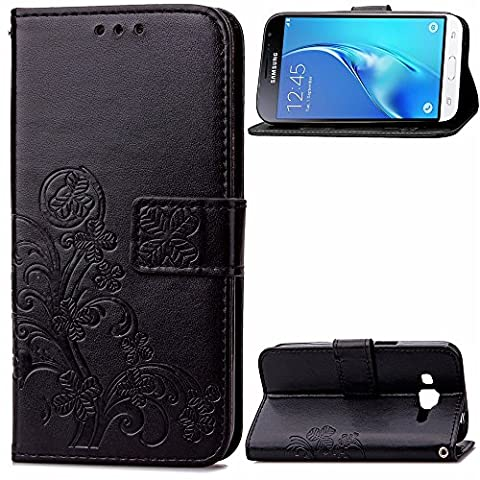Samsung Galaxy J3 Case Leather, Ecoway Clover embossed Patterned PU Leather Stand Function Protective Cases Covers with Card Slot Holder Wallet Book Design Folio Magnetic Flip Stand Feature for Samsung Galaxy J3 - Four Leaf Clover(black)