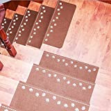 Touchfive Stufenmatten für Treppenstufen selbstklebend Anti Rutsch Treppenstufen Antirutschmatte Streifen mit Leucht Funktion Außen/Innen (Kaffee)