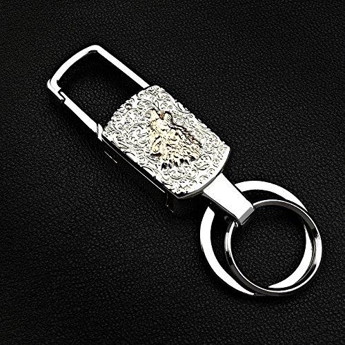 dsstyle Fashion Geschenk tragbar Cartoon Tier drehbarer Beleuchtung Geld Erkennung Schlüssel Ring Kette mit LED-Licht, wolf