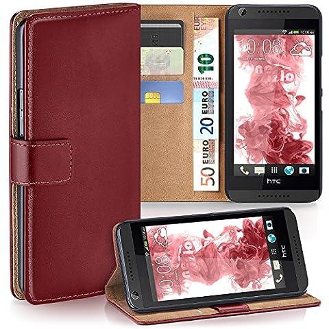 HTC Desire 626G Hülle Dunkel-Rot mit Karten-Fach [OneFlow 360° Book Klapp-Hülle] Handytasche Kunst-Leder Handyhülle für HTC Desire 626G/626 Case Flip Cover Schutzhülle Tasche