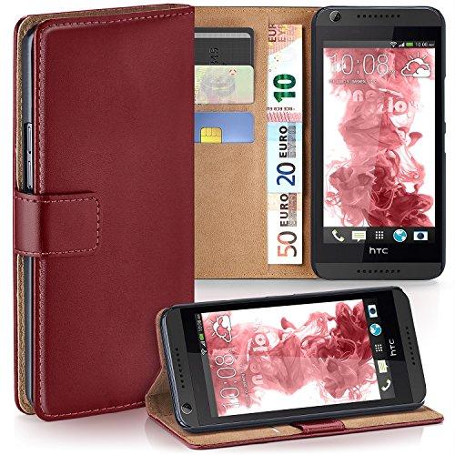 moex HTC Desire 626G | Hülle Dunkel-Rot mit Karten-Fach 360° Book Klapp-Hülle Handytasche Kunst-Leder Handyhülle für HTC Desire 626G/626 Case Flip Cover Schutzhülle Tasche