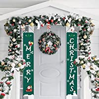 Outivity ChristmasDoor Banner Decoration Outdoor Indoor, Xmas Porch Sign, Xmas Decor Banners for Home Wall Door Party (Green)