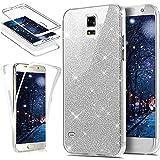 Kompatibel mit Galaxy S5 Hülle,Galaxy S5 Neo Hülle,TPU Silikon Hülle Full Body Cover 360 Grad Hülle Vorne hinten Rundum Schutzhülle Glänzend Glitzer Handytasche für Galaxy S5 Silber