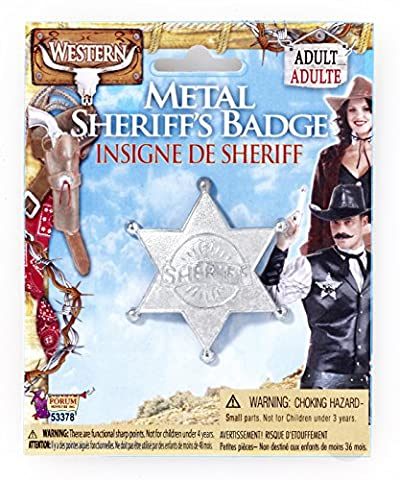 Silver Metal Costume Sheriff Badge Adult One Size