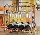 HT BEI Präzisions-Stahlcountertops-Präzisions-Schweißen Starke Stabilitäts-Starke Last, die 4 Oder 8 Flaschen trägt 750ml regelmäßiger Rotwein, der 8 Rotwein-Gläser Hängt | (Größe : 41*15.5*40.5CM)