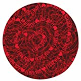 WANG-shunlida Liebe Rose Valentinstag runden Teppich Schlafzimmer, Schlafzimmer, Wohnzimmer, Wohnzimmer und Yoga Matte, 80 X 80 cm, A,