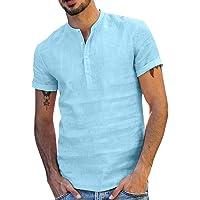 PENGGONG T-Shirt Camicia Uomo Manica Corta Lino di Cotone Baggy Magliette Uomo retrò Manica Corta Primavera Estate Tinta…