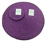 Metallic Effect Easy Clean Purple Round (Circular) Placemat And Coaster Package Set -Each Pack Contains 4 Placemats (12in/30cm Approx) And 4 Coasters(4in/10cmApprox)
