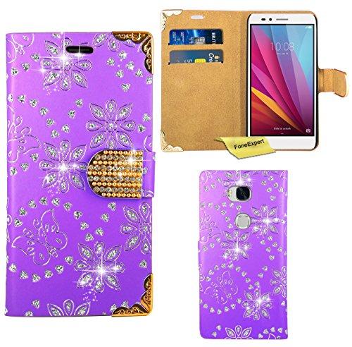 Preisvergleich Produktbild Huawei Honor 5X Handy Tasche, FoneExpert® Bling Luxus Diamant Hülle Wallet Case Cover Hüllen Etui Ledertasche Premium Lederhülle Schutzhülle für Huawei Honor 5X (Lila)