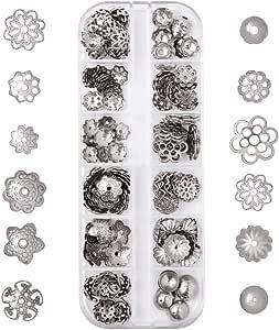 Couleur de lAcier Inoxydable PandaHall Elite 180pcs 6 Styles Perles Intercalaire Perles despacement en 304 Acier Inoxydable pour la Fabrication de Bijoux