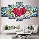 FJKYF 100×55cm Leinwand Malerei Liebe Abstrakte Muster 5 Stücke Wandkunst Malerei Modulare Tapeten Poster Print für Wohnzimmer Wohnkultur