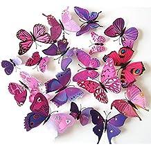 ElecMotive 24 Piezas 3D Pegatinas de Mariposa Pegatinas de Pared Etiquetas Engomadas Multicolores Mariposas Decoración de La Pared Para Casa Habitación (12 Púrpuras +12 Rosas)