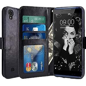 Custodia LG X Power, LK Case in Pelle PU di Lusso Portafoglio con Fessure di carta Cover Protettiva - Nero