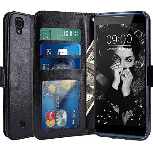 LG X Power Hülle, LK Luxus PU Leder Brieftasche Flip Case Cover Schütz Hülle Abdeckung Ledertasche für LG X Power (Schwarz)