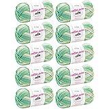 MyOma Bunte Wolle * 10 Knäuel à 50g Cotton Pure Color Lime Shake (Fb 406) + Gratis Label * Wolle Farbverlauf – Color Wolle – Nadelstärke 2,5-3,5mm – 50g/125m – Farbverlaufsgarn Baumwolle