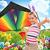 Huge Rainbow Kite For Kids - One Of The Best Selling Toys For Outdoor Games Activities - Good Plan For Memorable Summer Fun - This Magic Kit Comes With Lifetime Warranty & Money Back Guarantee - aGreatLife® - amazon.co.uk
