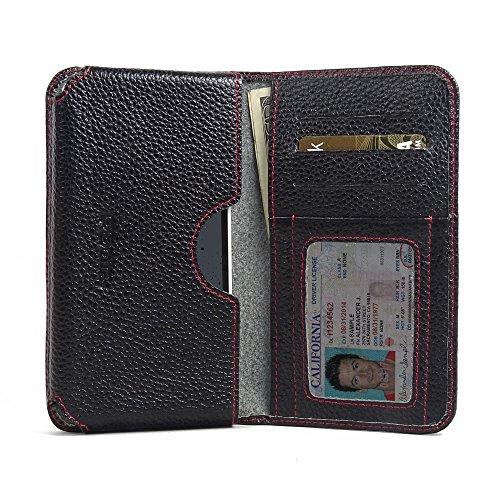 PDAir HTC Desire 530 Leder Brieftasche Folio Handy Hülle (Schwarzes Kieselleder/roter Stich), Echtleder Brieftasche Hülle, Kreditkarte Brieftasche Hülle für HTC Desire 530 630 - Speck Handy Brieftasche