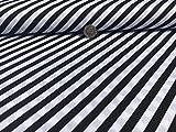 Schwarz & Weiß 8mm gestreift Print 100% Baumwolle Stoff Material für Kleid, Vorhang, Polster, Craft, Patchwork, Quilts Meterware Breite 147cm