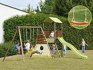 Aire de jeux en bois avec portique et toboggan Lombarde