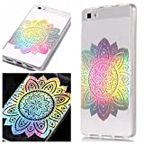 Huawei P8 Lite Case, BONROY Laser Colorful Huawei P8 Lite Case Clear Feather Pattern Design Silicon TPU Gel Rubber Cover Ultra Thin Slim Protective Bumper Shockproof Transparent Skin Shell Cute Elegant Kawaii Personalised Designer - Laser Lotus