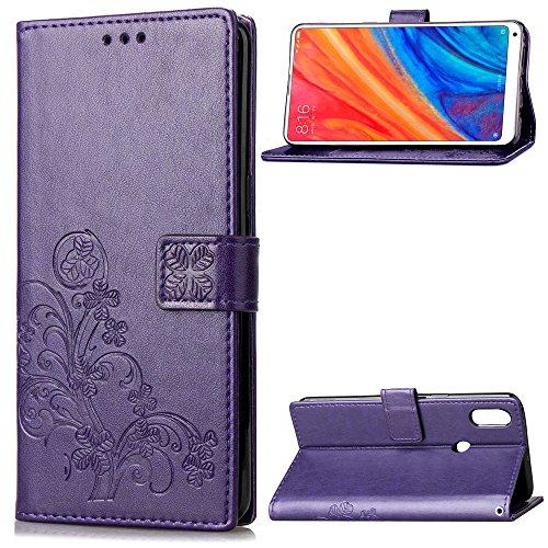 Funda Xiaomi Mi Mix 2s, LAGUI Los Adornos Bien Definidos y Grabados Carcasa Tipo Libro, de ranuras para tarjetas y soporte horizontal y solapa con cierre magnético, púrpura