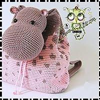 Mochila HIPOPÓTAMO PERSONALIZABLE (Bebé, crochet, ganchillo, muñeco, peluche, niño,