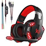 Gaming Headphone Surround Vibrator Stereo Headsets Headphones usb led with Microphone for PC PS4 Xbox One Laptop, Red, M
