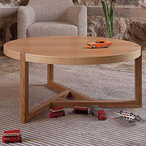MDS Table Basse en chêne - Collection SCANDIWOOD - en chêne Massif et placage chêne de Haute qualité - Une Ambiance chaleureuse - éco, déco et Design - Table Basse Ø 82 cm