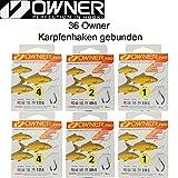 6paquetes Owner para carpas gebunden 70cm, carpas, karpf enrig, carpas montaje, carpas Antes compartimento, Líder para pesca de carpas, carpas