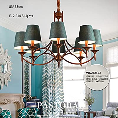 Zhy-Industrial Style Chandeliers 8 Lights E12 E14 Fabric Clothe Shade Metal Arms Living Bed Dinning Room Retro Lamp ,Yc724