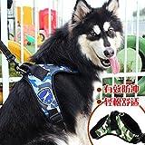 Correa del arnés de pecho gran perro mascota perro mediano correa correa correas de perro, arneses, 51212--Azul marino Camo kits, XL-(80-100cm)