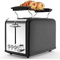 morpilot Grille Pain Noir Vintage Toaster Grille-pain Inox avec 2 Fentes, Support Viennoiserie, 6 Niveaux de Brunissage…
