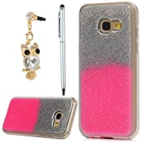 Galaxy A3 Case 2017, YOKIRIN Luxury Bling Glitter Sparkle Designer Case Ultra Slim Fit Lightweight Shockproof Scratch Resistant TPU Gel Soft Thin Silicone Back Cover for Samsung Galaxy A3, Sliver and Pink