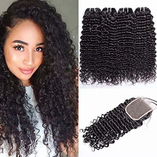 Curly Weave (Maxine 9A Brazilian Deep Wave Human Hair 3 Bundles with Closure 100% Unprocessed Virgin Brazilian Deep Curly Remy Hair Weaves and Free Part Lace Closure (14 16 18 + 12 Closure,Natural Color))