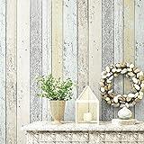 Blooming Wand Vintage Wood Plank Holz Panel Tapete Wand Wandbild Wand Papier Rolle für Wohnzimmer Schlafzimmer Küche, 20,8in32.8FT = 57² FT, grün/gelb/grau/hellbraun