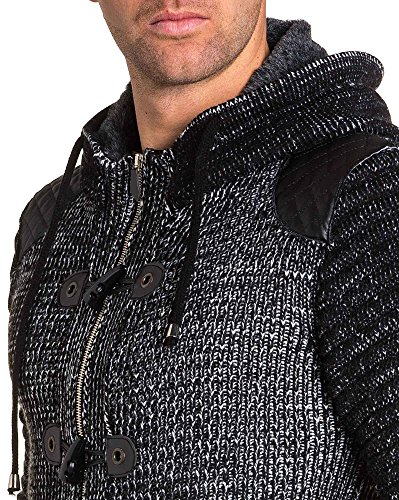 BLZ jeans - Gilet noir maille à capuche et effet cuir Noir
