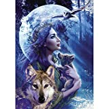 DIY 5D Diamond Painting, Crystal Rhinestone Diamond Embroidery Paintings Pictures Arts Craft for Home Wall Decor Wolf Mother and Woman Owl 11.8 X 15.7 Inch
