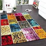 Teppich Modern Designer Teppich Patchwork Vintage Multicolour Grün Rot Gelb