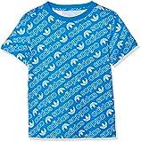 adidas Jungen Trefoil Monogram T-Shirt, Bluebird/White, 140