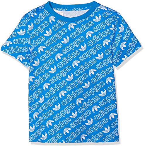 Adidas trefoil monogram, t-shirt ragazzo, bluebird/bianco, 152