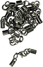 Segolike 12 Sets Lobster Clasp Clip Fold Over Cord End Crimp Caps Bail Tips Jewelry Making Findings Connector - jet black
