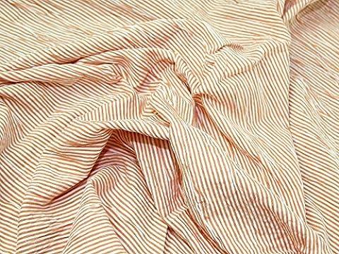 Polycoton Orange Seersucker Mini Stripe garde robe tissu au mètre