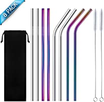 U-MISS Stainless Steel Straw, Multicolor Reusable Metal Drinking Straws 8.5 inch with Cleaning Brush and Silicon Tips...