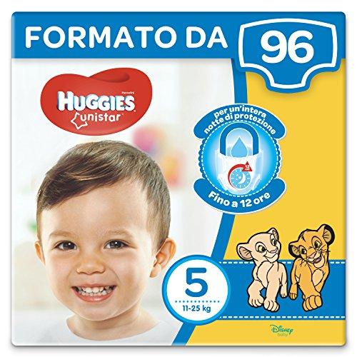 Huggies Unistar Pannolini, Taglia 5 (11-25 kg), Confezione da 96 Pannolini